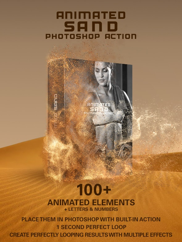 Animated Sand Photoshop action on GraphicRiver - create animated sandstorm effect in Photoshop by placing over 100 animated sand effects using the built in action