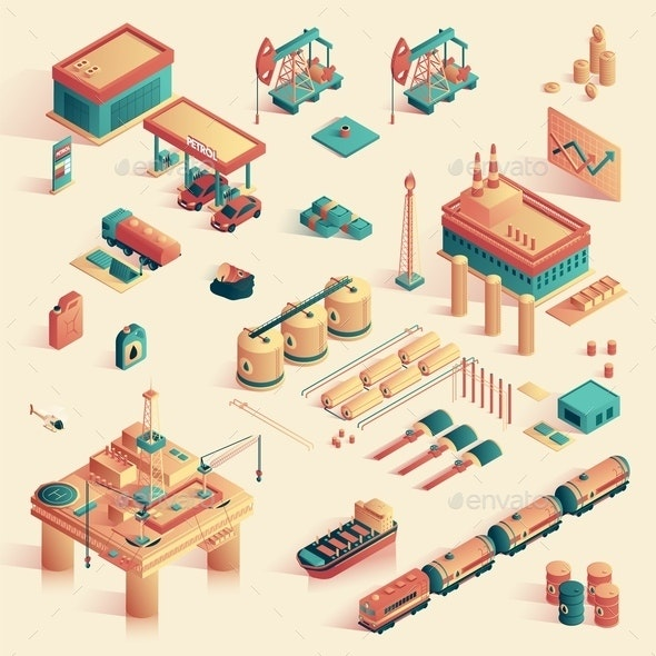 Business in Refinery Mini Plant Isometric 3d. - Business Conceptual