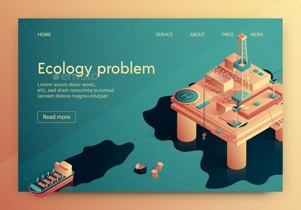Ecology Problem Vector Illustration Isometric. - Business Conceptual