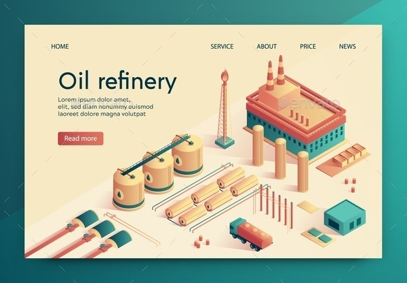 Vector Illustration is Written Oil Refinery Slide. - Business Conceptual