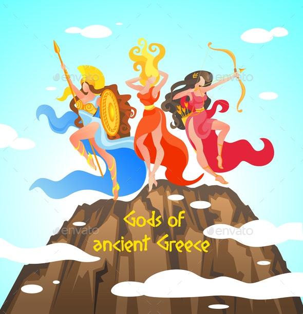 Greek Mythology is Written Gods of Ancient Greece. - Religion Conceptual