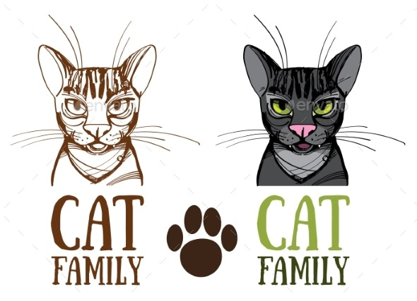 Cat Family, Logo. Vector Illustration Isolated on - Miscellaneous Vectors
