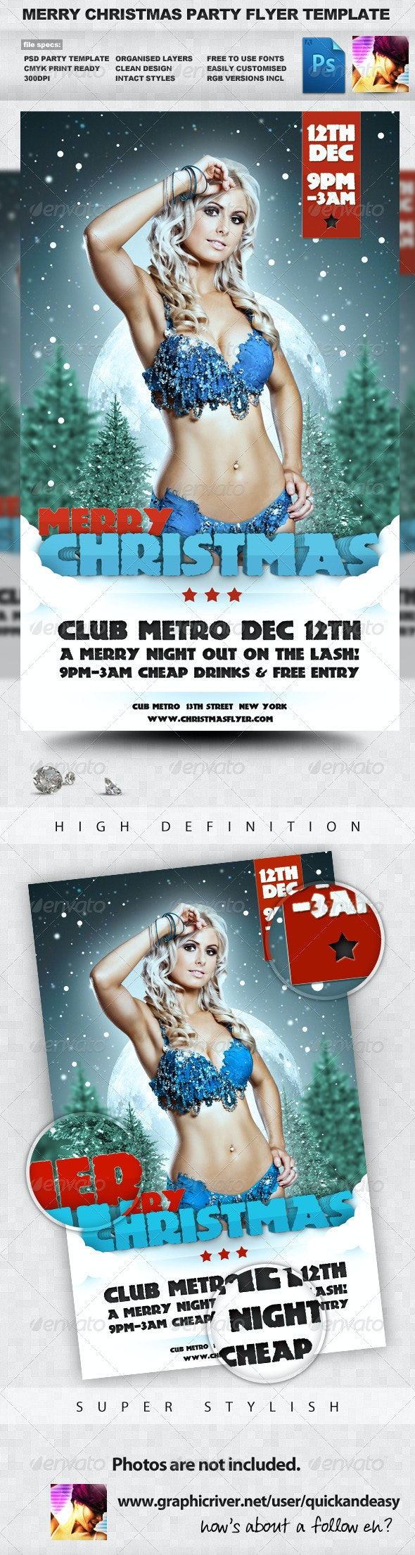 Merry Christmas - Winter A5 PSD Flyer Template - Clubs & Parties Events