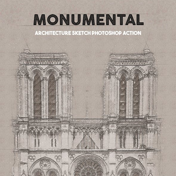 Monumental - Architecture Sketch Photoshop Action