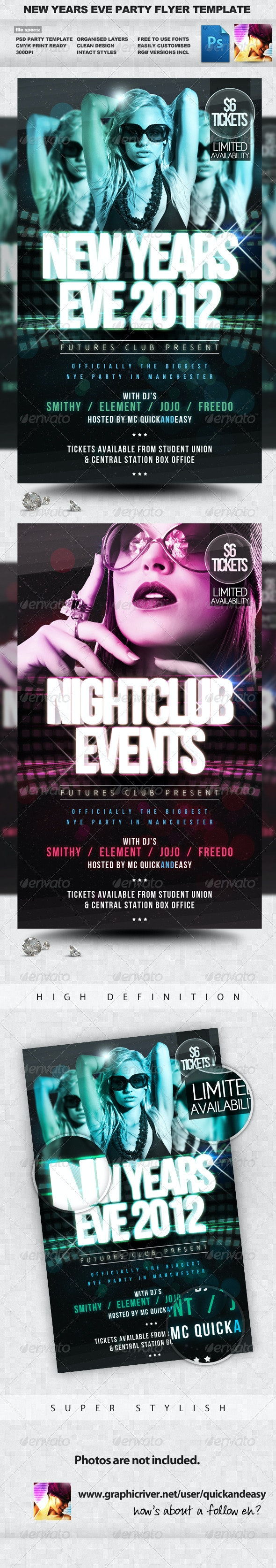 Future NYE - New Years Eve PSD Flyer Template - Clubs & Parties Events