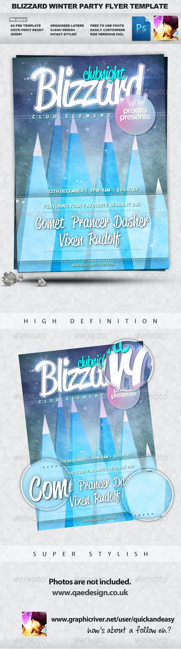 Blizzard - Winter A5 PSD Flyer Template - Clubs & Parties Events
