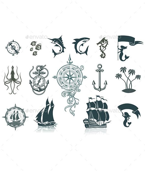 Set of Marine Emblems - Travel Conceptual