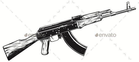 AK 47 Machine Gun - Man-made Objects Objects