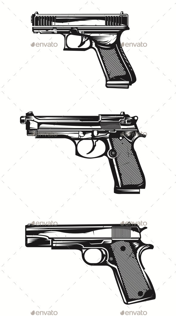Handguns Vector Image - Man-made Objects Objects