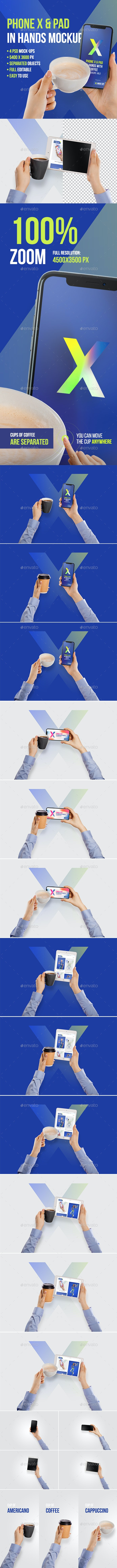 Phone X and Pad in Hands with Coffee Mockups Vol 1 - Mobile Displays