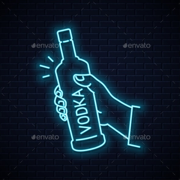 Hand Holds Vodka Bottle Glass Neon Sign - Food Objects