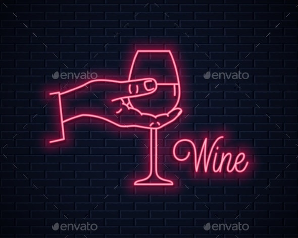 Hand Holds Wine Neon Sign - Food Objects