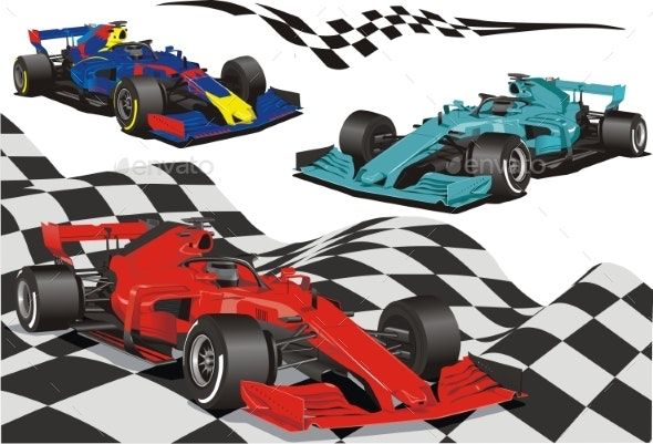 Racing Cars on the Background - Man-made Objects Objects