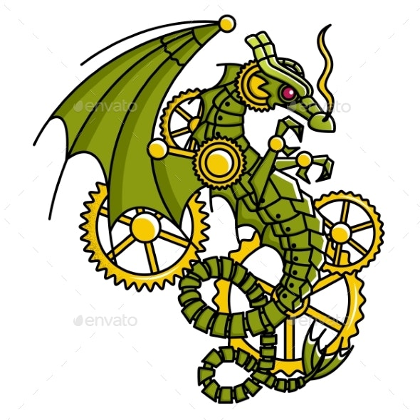 Vector Image of a Mechanical Dragon - Miscellaneous Vectors