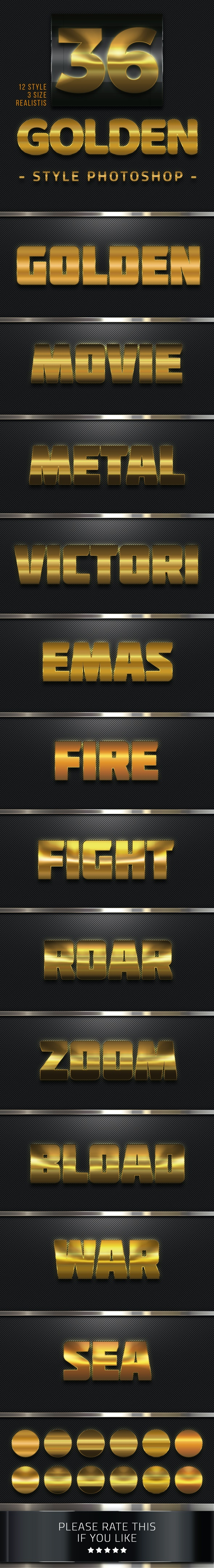 36 Golden Style Photoshop - Text Effects Styles
