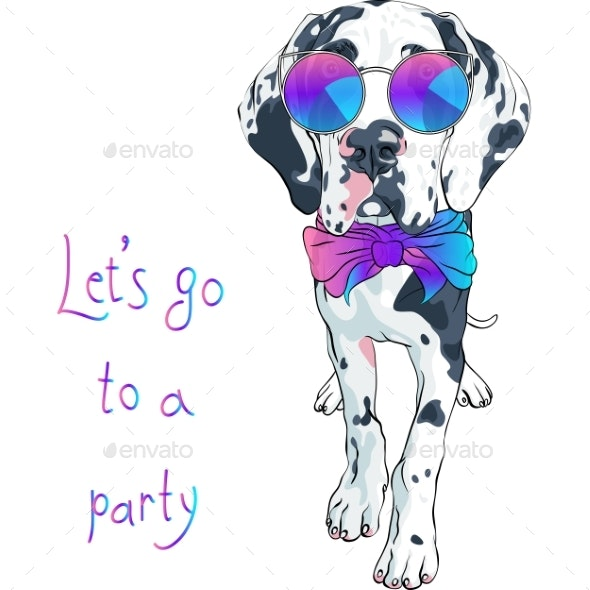 Vector Spotted Dog Great Dane Breed - Animals Characters