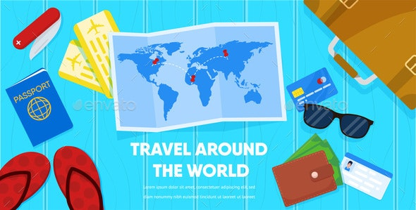Map and Tourist Accessories Passport Ticket Wallet - Travel Conceptual