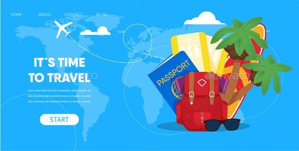 Tourist Accessories Backpack Passport Plane Ticket - Travel Conceptual