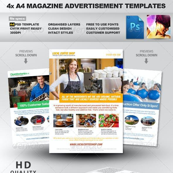 4x Clean Magazine Advertisement Templates