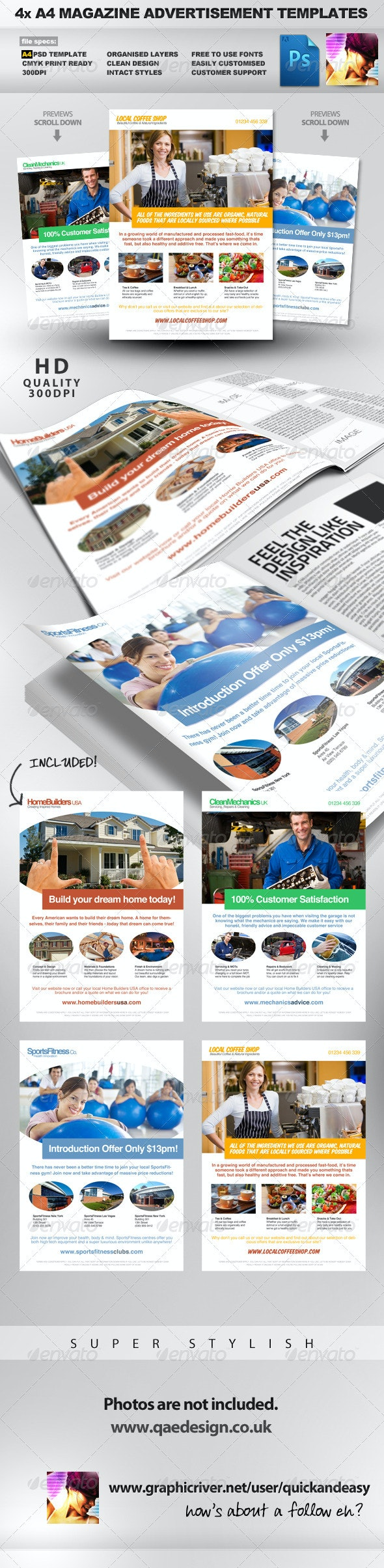 4x Clean Magazine Advertisement Templates - Magazines Print Templates