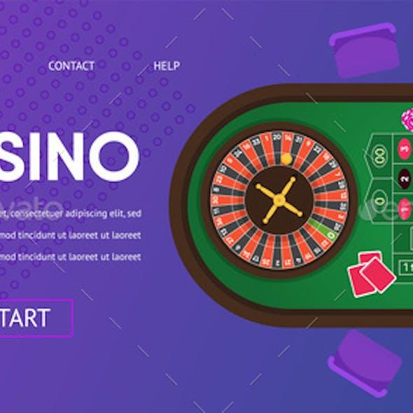 Casino Gambling Roulette Green Table Illustration
