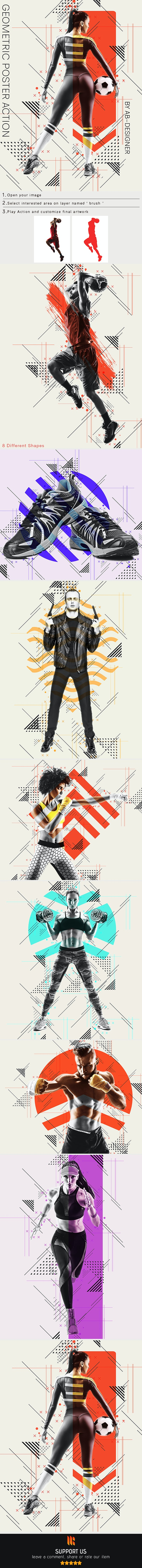 Geometric Poster Photoshop Action - Photo Effects Actions