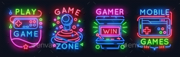 Neon Game Signs - Miscellaneous Vectors