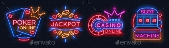Neon Casino Banners - Miscellaneous Vectors