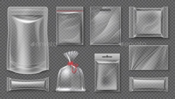 Plastic Package Transparent Realistic Pouch - Man-made Objects Objects