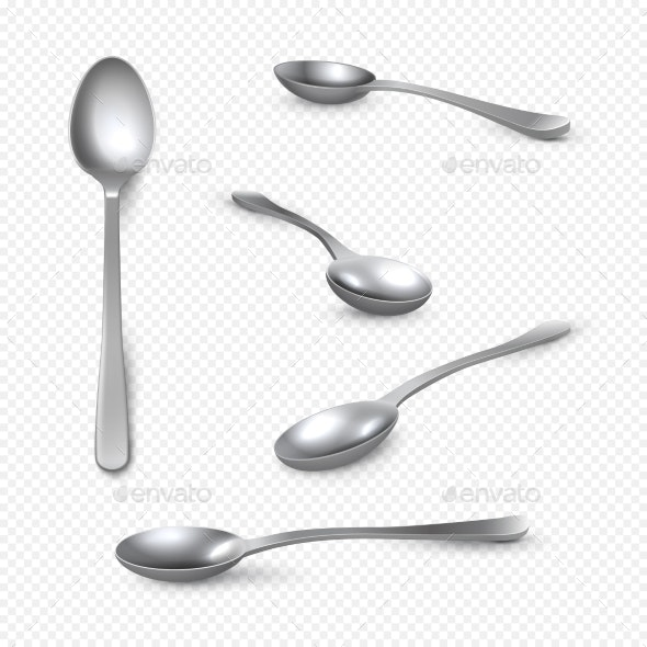 Realistic Metal Spoon - Food Objects