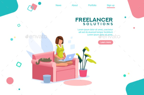 Girl Freelancer Template Homepage - Concepts Business