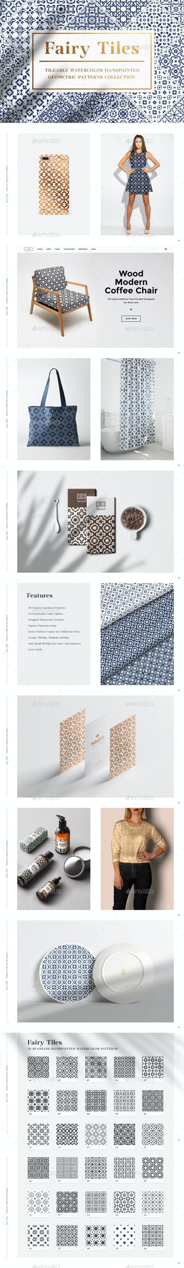 30 Geometric Watercolor Patterns - Patterns Backgrounds