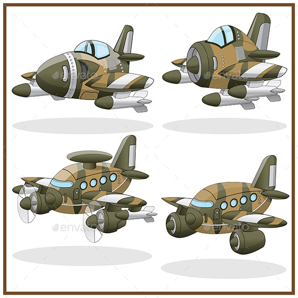Set of Military Aircrafts - Man-made Objects Objects