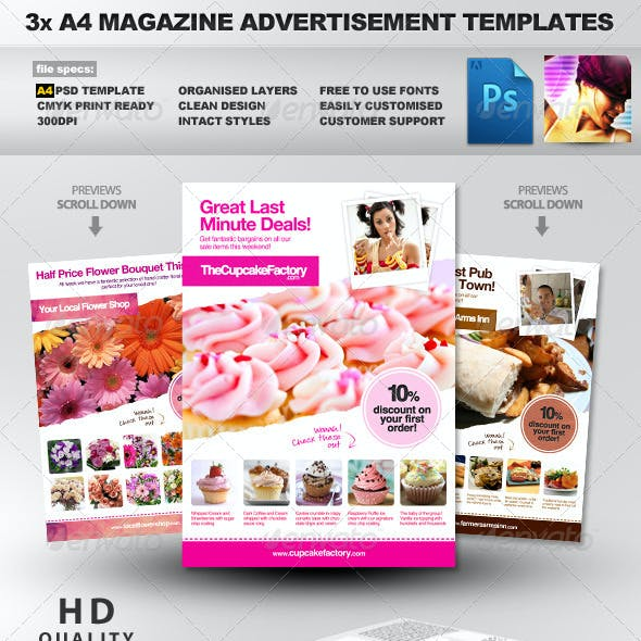 3x A4 PSD Magazine Advert Templates