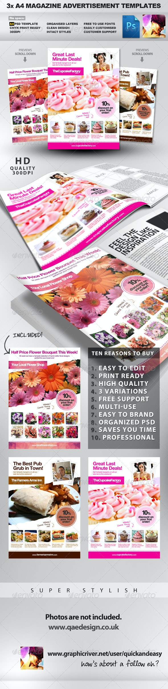 3x A4 PSD Magazine Advert Templates - Magazines Print Templates
