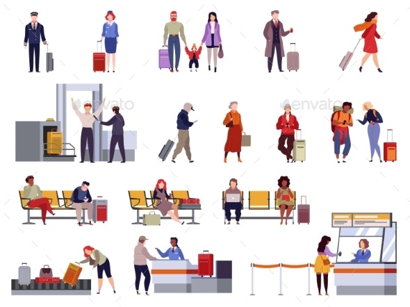 People Airport Set. Family Travel Registration - Travel Conceptual