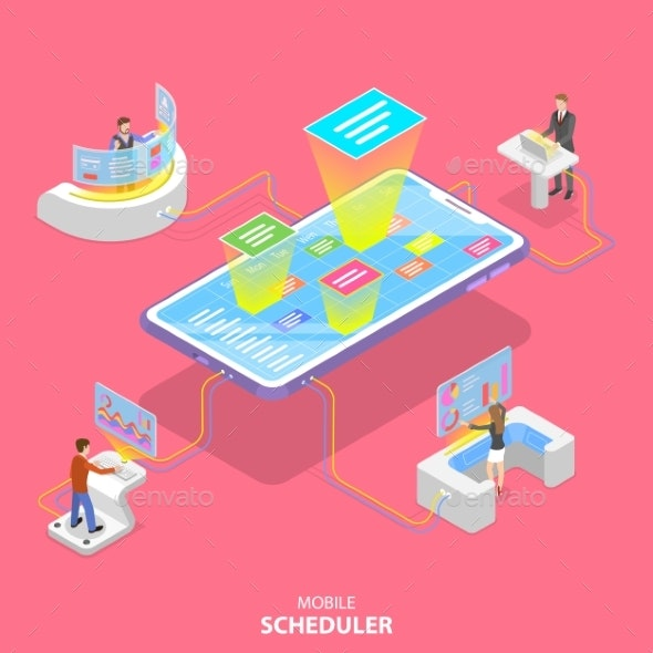 Flat Isometric Vector Concept of Mobile Scheduler - Computers Technology