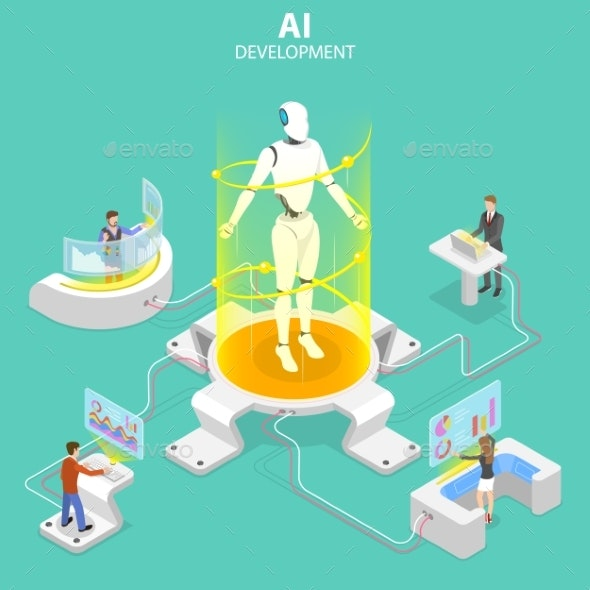 Flat Isometric Vector Concept of AI Development - Computers Technology