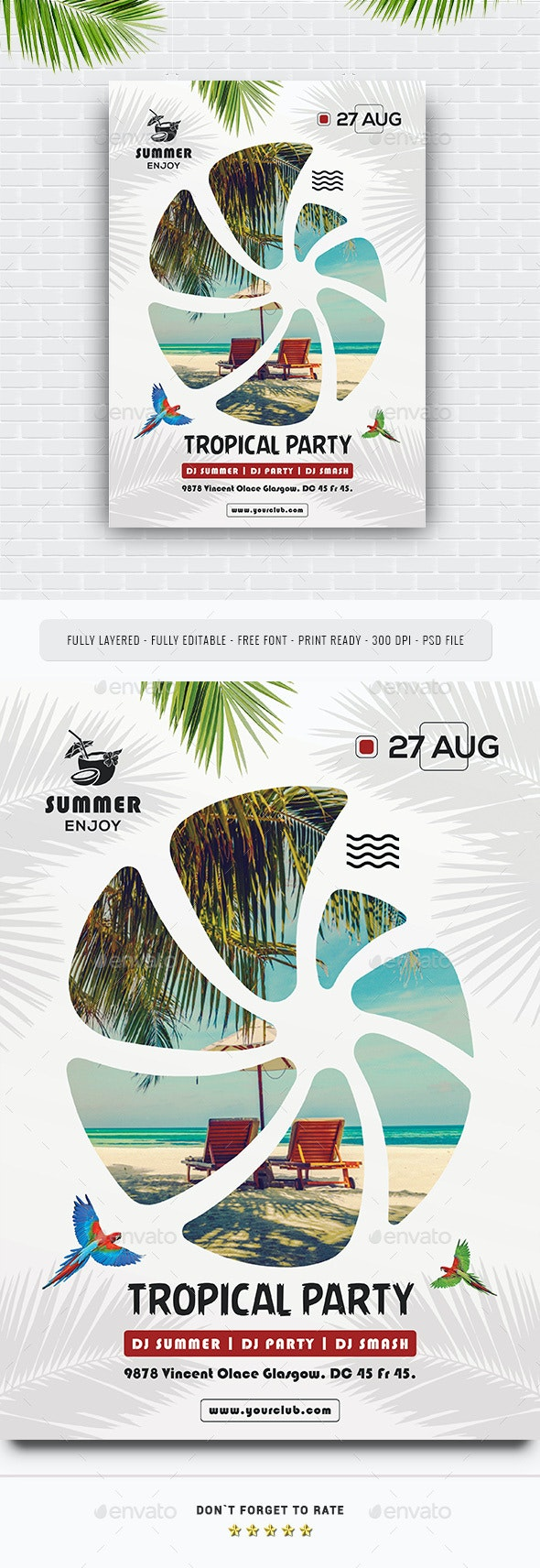 Summer Tropical Party Flyer - Events Flyers
