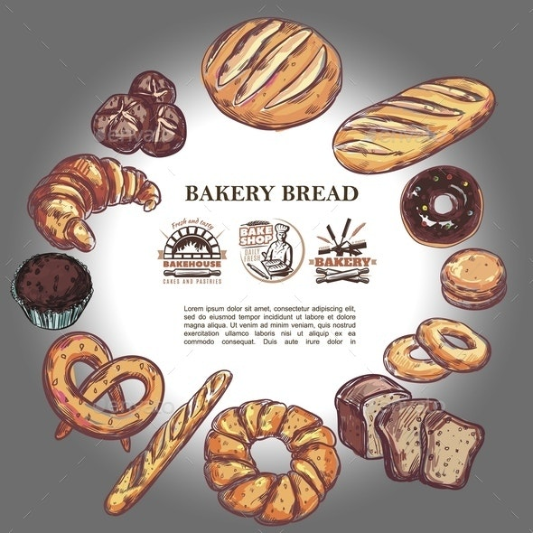 Sketch Bakery Products Round Concept - Food Objects