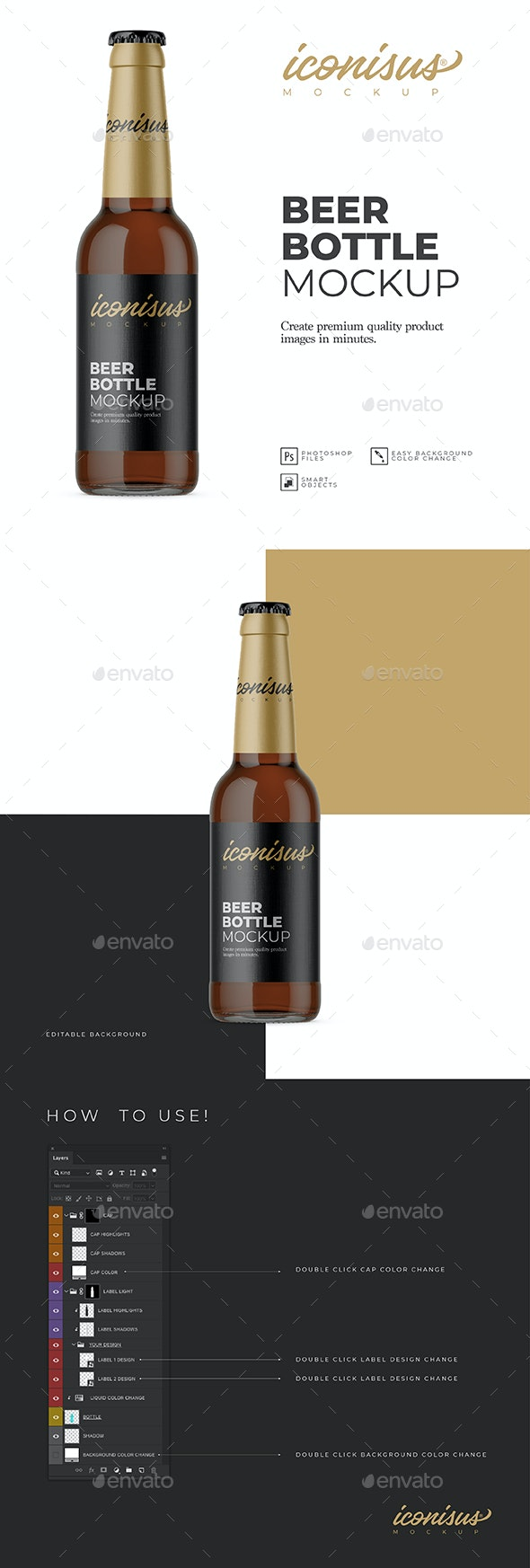 Beer Bottle Mockup Template - Food and Drink Packaging