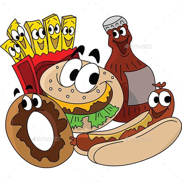 Cartoon Fast Food Character Designs