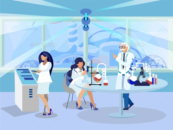 Chemistry Lab Workers Flat Vector Illustration - Buildings Objects