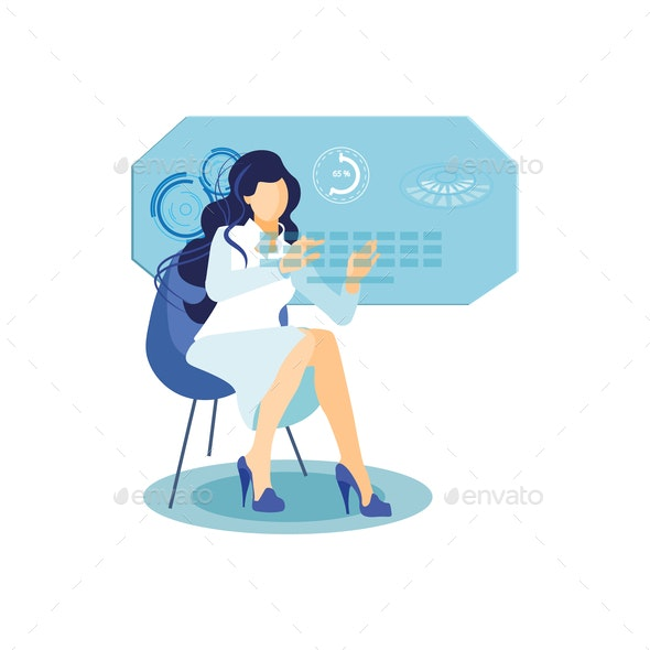 Girl with Interactive Display Flat Illustration - People Characters