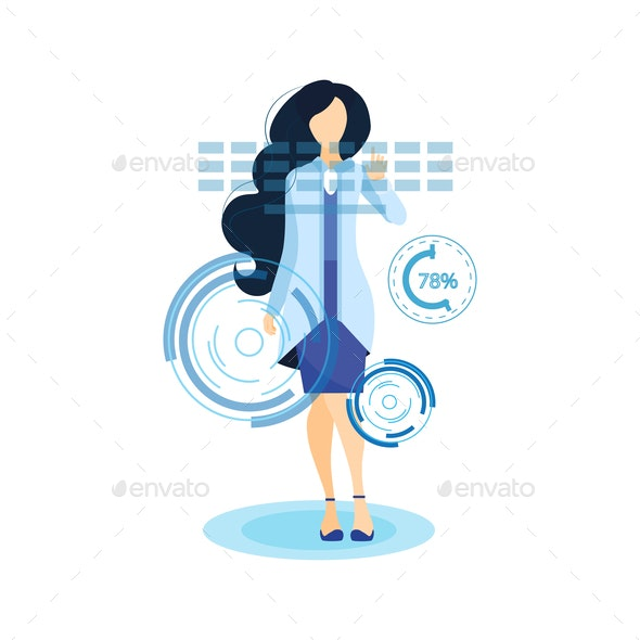Girl Working with AR Touchscreen Flat Illustration - Concepts Business