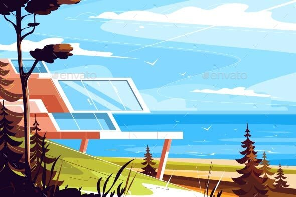 Designer House on Seashore - Buildings Objects