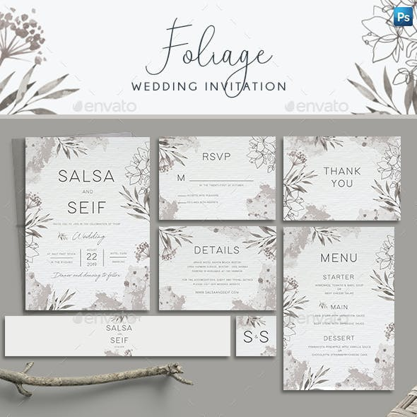 Monochrome Foliage Wedding Invitation