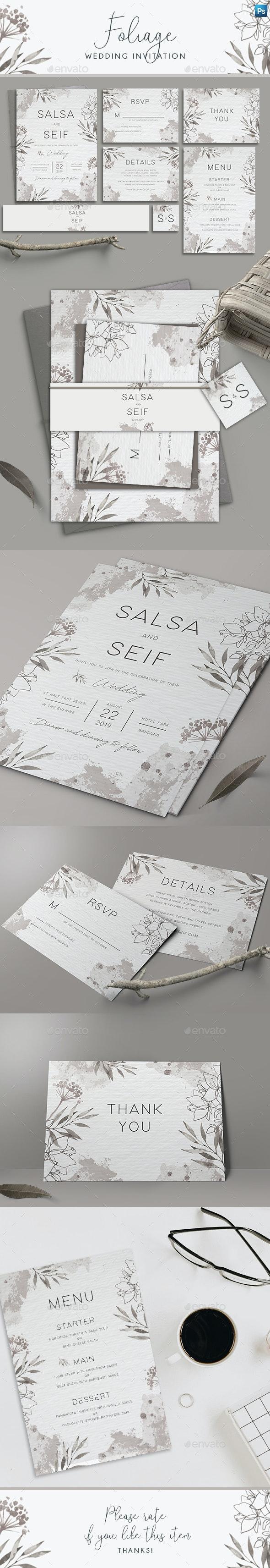 Monochrome Foliage Wedding Invitation - Weddings Cards & Invites