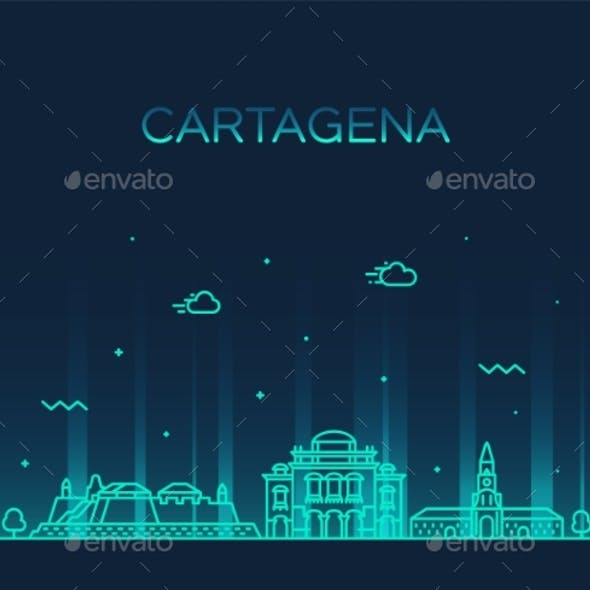Cartagena Skyline Colombia City Vector Linear