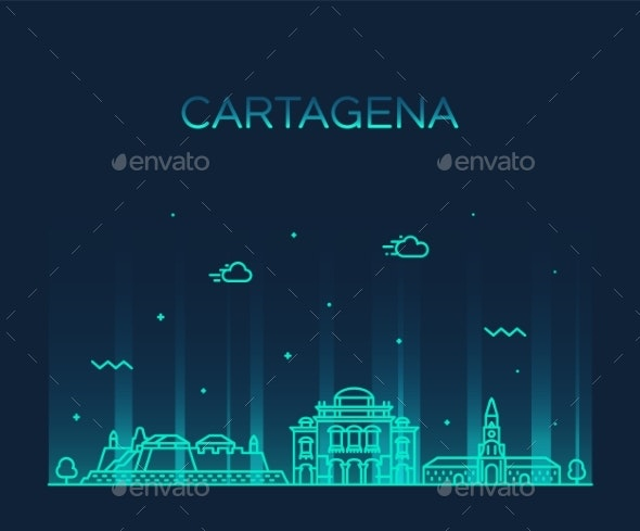 Cartagena Skyline Colombia City Vector Linear - Buildings Objects